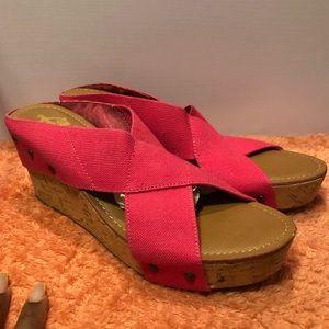 Crown Vintage Cork Wedge Sandal Hot Pink Size 11